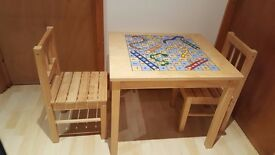 Children's wooden table & chairs