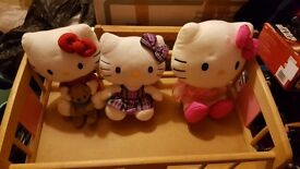 3 hello kitty cuddly toys