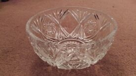 "ANTIQUE CRYSTAL CUT GLASS BOWL 8x4"" NEW"