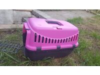 NEW Pet Carrier Pink & Black - Cat, Rabbit, Small dog or other small animal