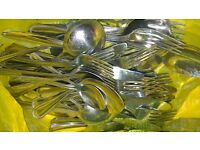 Set of stainless steel cutlery - forks, spoons, knives..40 pieces
