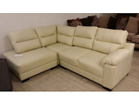 NEW Graded Cream Leather Left Hand Corner Sofa Suite FREE LOCAL DELIVERY