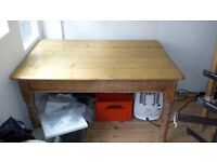 Antique Pine Table with side draw