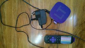 Roku LT Video Streaming Player Digital Media Streamer & remote control & mains cable