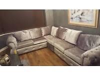 Crushed velvet silver chesterfield sofa 6 seater like new