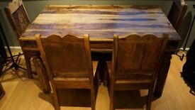 Spanish style dining table and chairs
