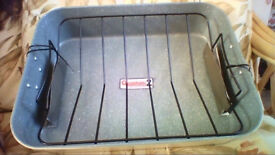 BRAND NEW Heavy duty carbon steel roasting pan with removable rack