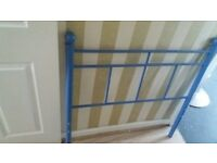 Single blue metal bedframe. Free local delivery.