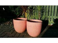 Pair of large PINK ceramic plant pots. Excellent condition.