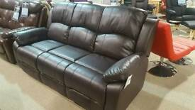 new!!! karla 3 seater brown leather sofa and 2 chairs