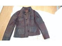 Women's Fitted Leather Jacket - Brown/hint of red - Perfect Condition - Size 16