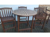 Tall pub garden table and 4 chairs