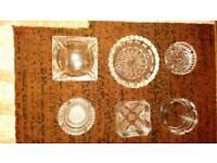 6 mixed glass ashtrays