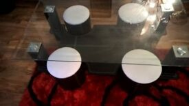 LUXOR FAUX LEATHER +GLASS COFFEE TABLE+4 STOOL SET