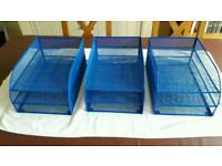3 x Blue filing trays, ex. condition