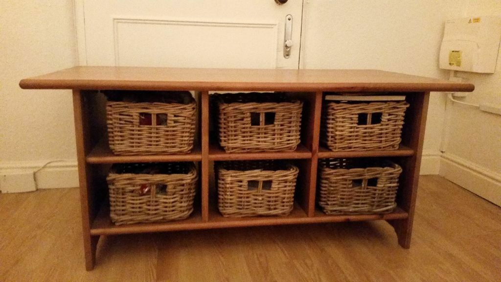 Beautiful Ikea Coffee Table And Wicker Baskets For In