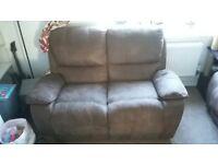 1 x Faux suede reclining sofa