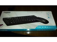 Rapoo | 8000-B 2.4G Wireless Multimedia Mini Keyboard & Mouse Combo - Black New