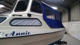 Pilot 490 Custom Fishing Boat, River cruiser, overnighter. 15HP, Safety cert, taxed. Trailer.