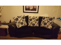 Black Dfs Sofa, Cuddle chair and chair. Good condition. Please email for pictures