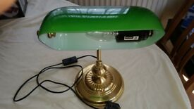 Bankers Desk Lamp with attractive green hand-blown glass shade