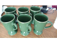 6 dark forest green mugs with gold rim