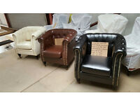 CHRISTMAS BARGAIN BANKRUPT STOCK BRAND NEW PU BONDED FAUX LEATHER CHESTERFIELD DESIGN TUB CHAIR £120