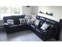 Black corner couch real leather for sale
