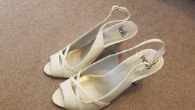Wallis off-white sling-back heels with open toe, UK size 4