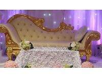 Wedding centrepieces and wedding decorations starlight backdrop , wedding thrones and sofa for hire