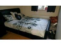 Black faux leather double bed & mattress