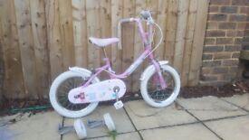 """Girls bike 14"""" wheels with stabalisers"""