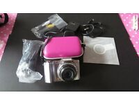 Olympus silver SZ-14 compact 24x zoom digital camera with accessories.