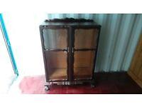 vintage oak bookcase or display cabinet,rosewood,can deliver