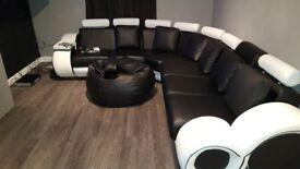 Stylish Big Leather sofa swap for big fabric sofa