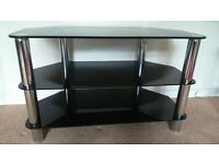 Quality black glass and silver TV stand