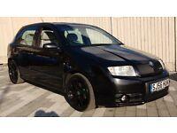 2006 SKODA FABIA VRS TDI PD Diesel 130 BLACK, Low miles, FSH 98k, may px, Cheap Running Costs