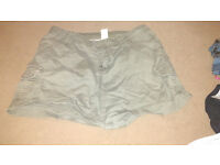 Green military style short shorts
