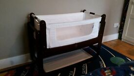 Snuzpod 3 In 1 Bedside Crib - Dark Brown + Matress and Matress Protector