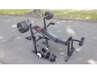 PRO POWER BENCH WITH 50KG WEIGHTS & 5.5FT BAR & DUMBBELL BARS