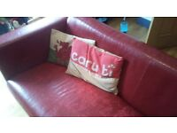 FREE 3 Seater Red Faux Leather Sofa