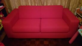 3 seater red fabric sofa