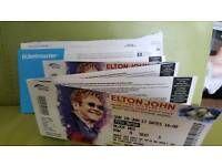 5 X ELTON JOHN TICKETS Widnes FRONT SECTION block DD3