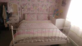 Ikea kingsize metal white bedframe