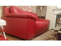 Italian red leather sofa 3+2