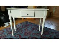 White hand painted console table with drawer