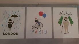 3 Ikea london paris new york abstract prints £6
