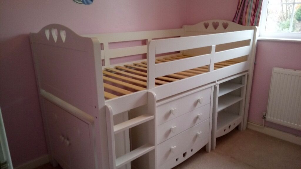 Next White Cabin Bed With Pull Out Table Drawers Shelves
