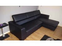 Nlack Eco leather corner sofa bed