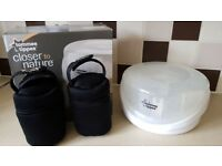 Tommee Tippee microwave steam steriliser and 4 x Tommee Tippee neoprene insulating bottle warmers